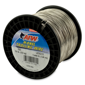 Monel Trolling Wire, Nickel-Copper Alloy, 70 lb (32 kg) test, .034 in (0.86 mm) dia, Bright, 1440 ft (438 m)