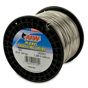 Monel Trolling Wire, Nickel-Copper Alloy, 80 lb (36 kg) test, .036 in (0.91 mm) dia, Bright, 1280 ft (390 m)