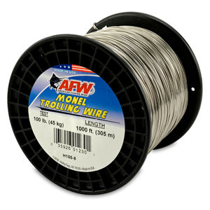 Monel Trolling Wire, Nickel-Copper Alloy, 100 lb (45 kg) test, .040 in (1.02 mm) dia, Bright, 1000 ft (305 m)