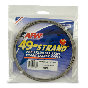 49 Strand, 7x7 Stainless Steel Shark Leader Cable, 400 lb (182 kg) test, .054 in (1.37 mm) dia, Bright, 30 ft (9.2 m)