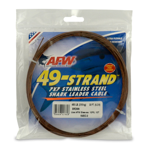 49 Strand, 7x7 Stainless Steel Shark Leader Cable, 480 lb (218 kg) test, .062 in (1.57 mm) dia, Camo, 30 ft (9.2 m)