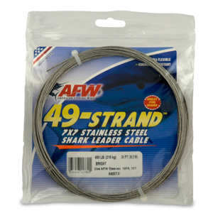 49 Strand, 7x7 Stainless Steel Shark Leader Cable, 480 lb (218 kg) test, .062 in (1.57 mm) dia, Bright, 30 ft (9.2 m)
