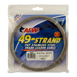 49 Strand, 7x7 Stainless Steel Shark Leader Cable, 600 lb (273 kg) test, .072 in (1.83 mm) dia, Bright, 30 ft (9.2 m)
