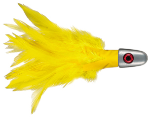 No Alibi, Trolling Feather Lure, Yellow Skirt, 1 oz (28.3 g) Head
