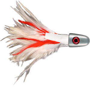 No Alibi, Trolling Feather Lure, White/Red Skirt, 12 oz (340 g) Head