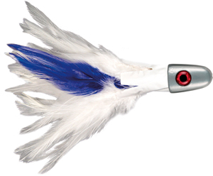 No Alibi, Trolling Feather Lure, White/Blue Skirt, 8 oz (226 g) Head