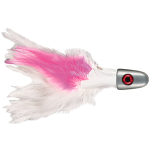 No Alibi, Trolling Feather Lure, White/Pink Skirt, 1 oz (28.3 g) Head