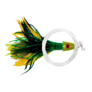 No Alibi Pro, Trolling Feather Rigged & Ready, Yellow/Green Skirt, 2 oz (56.6 g) Head, 7/0 Mustad Hook, AFW Swivel, 100 lb (45.3 kg) Grand Slam Mono Line, 6 ft (1.8 m)