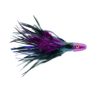 No Alibi Pro, Trolling Feather Rigged & Ready, Black/Purple Skirt, 1 oz (28.3 g) Head, 7/0 Mustad Hook, AFW Swivel, 100 lb (45.3 kg) Grand Slam Mono Line, 6 ft (1.8 m)