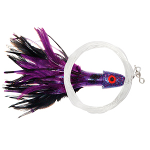 No Alibi Pro, Trolling Feather Rigged & Ready, Black/Purple Skirt, 2 oz (56.6 g) Head, 7/0 Mustad Hook, AFW Swivel, 100 lb (45.3 kg) Grand Slam Mono Line, 6 ft (1.8 m)