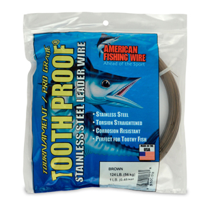 #10 ToothProof Stainless Steel Single Strand Leader, 124 lb (56 kg) test, .024 in (0.61 mm) dia, Camo, 1 lb (454 g)