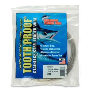 #10 ToothProof Stainless Steel Single Strand Leader, 124 lb (56 kg) test, .024 in (0.61 mm) dia, Bright, 1 lb (454 g)