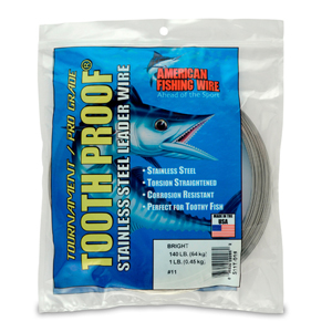 #11 ToothProof Stainless Steel Single Strand Leader, 140 lb (64 kg) test, .026 in (0.66 mm) dia, Bright, 1 lb (454 g)
