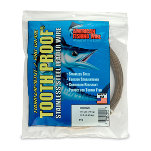 #12 ToothProof Stainless Steel Single Strand Leader, 174 lb (79 kg) test, .029 in (0.74 mm) dia, Camo, 1 lb (454 g)