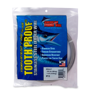 #13 ToothProof Stainless Steel Single Strand Leader, 195 lb (89 kg) test, .031 in (0.79 mm) dia, Bright, 1 lb (454 g)