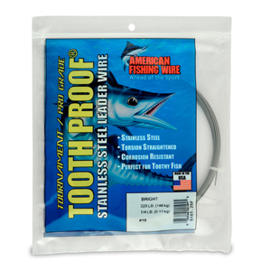 #18 ToothProof Stainless Steel Single Strand Leader, 325 lb (148 kg) test, .041 in (1.04 mm) dia, Bright, 1/4 lb (114 g)